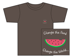 "Men""s Change the Food, Change the World Short Sleeve Tee – Espresso – Small Design"